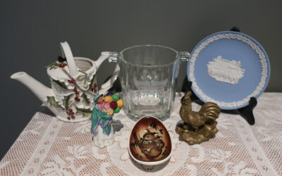 Sneak Peek For The Week – Italian Glass, Studio Anna Pottery, Solid Brass Figurine, Decorative Watering Can, Wedgwood Jasperware plate, Royal Doulton Miniature Figurine