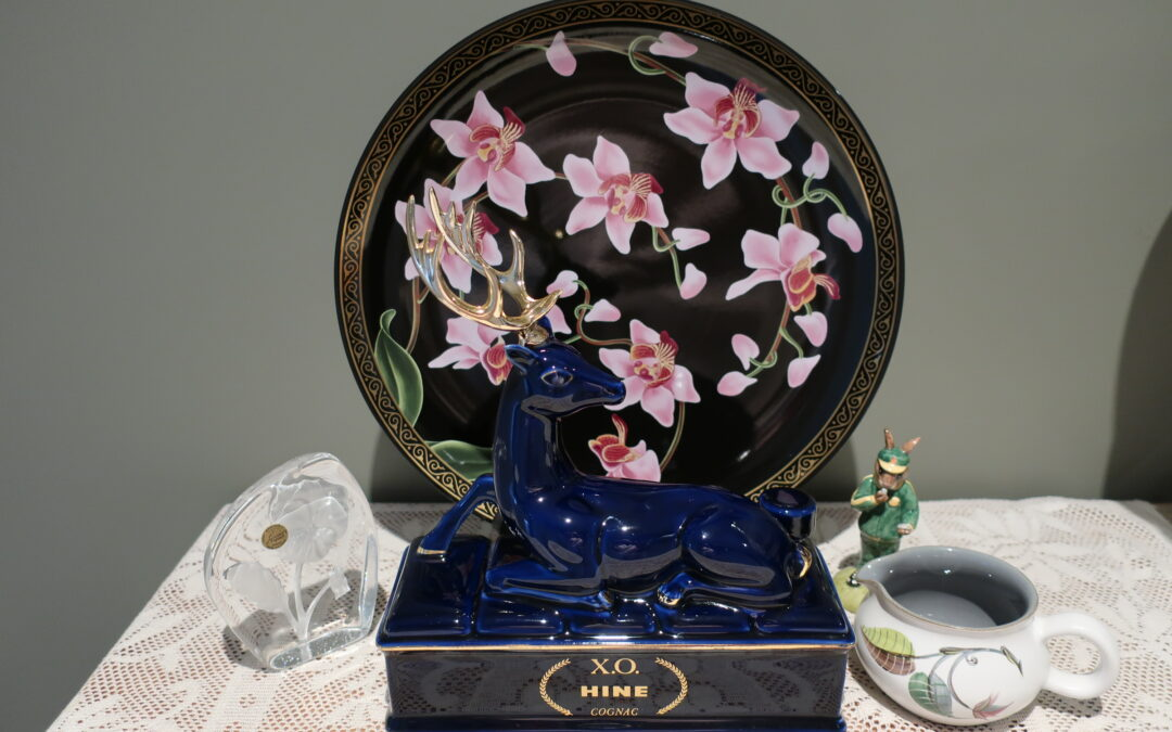 Sneak Peek For The Week – Royal Doulton Bunnykins, Cristal D'Arques, Mid Century Denby, Rare Limoges Hine Cognac Decanter, Huge Orchid Charger