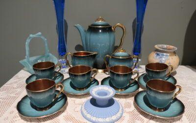 Sneak Peek For The Week – Carlton Ware, Australian Pottery, Antique Greener Glass, Wedgwood, J G Durand Crystal