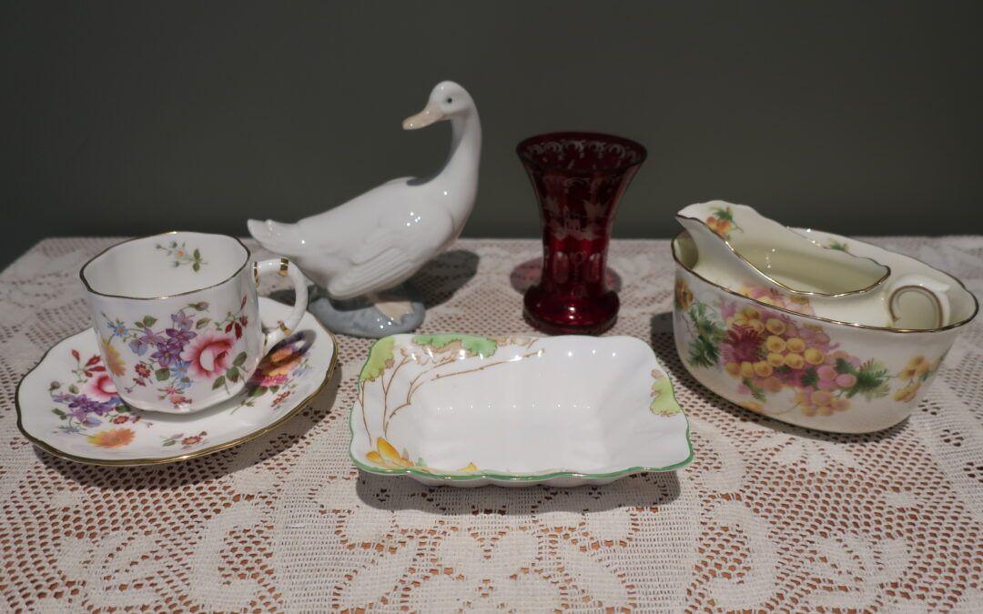 Sneak Peek For The Week – Royal Crown Derby, Antique Eggerman Glass, Nao, Royal Doulton, Royal Albert Crown China